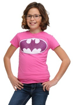 Girls Pink Batman Glitter Logo T-Shirt