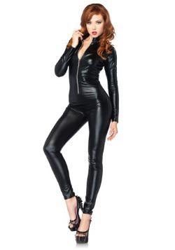 Sexy Black Zipper Womens Catsuit