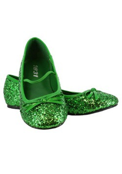Girls Green Glitter Ballet Flats11