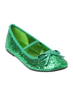 Girls Green Glitter Ballet Flats22
