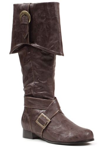 Men's Brown Buckle Pirate Boots