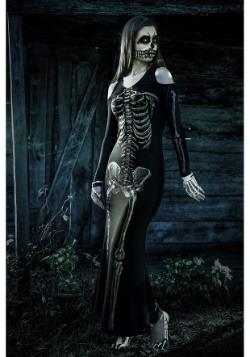 Womens Bone Appetit Skeleton Long Dress Costume2