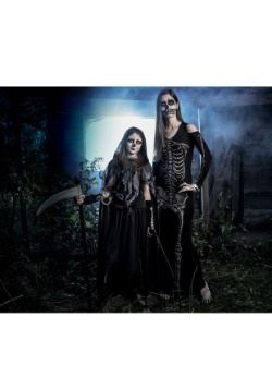 Womens Bone Appetit Skeleton Long Dress Costume3