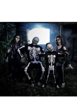Womens Bone Appetit Skeleton Long Dress Costume4