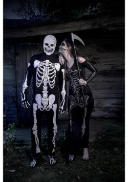 Womens Bone Appetit Skeleton Long Dress Costume5
