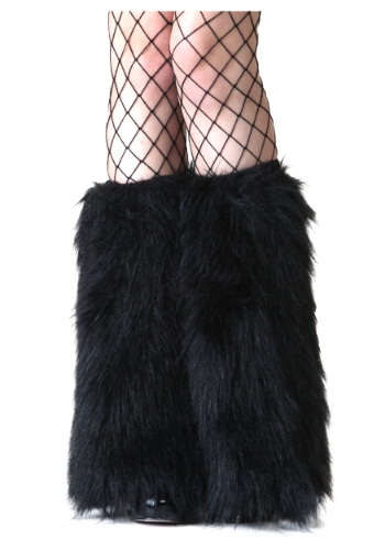 Black Furry Womens Boot Covers
