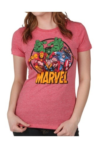 Women's Marvel Group Circle Heather Red T-Shirt