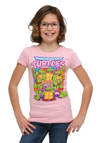 Juvy TMNT Pink Group Pizza T-Shirt