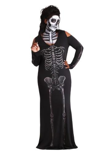 Womens Bone Appetit Skeleton Plus Size Long Dress Costume