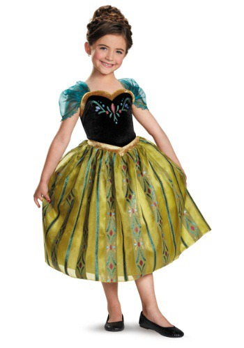 Girls Frozen Anna Deluxe Coronation Gown
