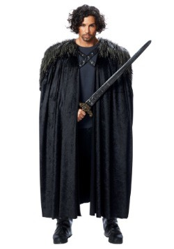 Men's Medieval Fur Trimmed Black Cape