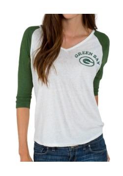 Green Bay Packers Victory V-Neck Raglan Shirt