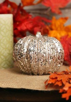 5 Inch Champagne Glitter Pumpkin Decoration update