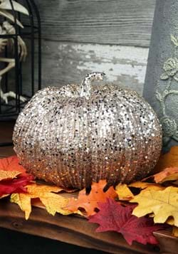 Champagne Glitter Pumpkin Decoration 8 Inch
