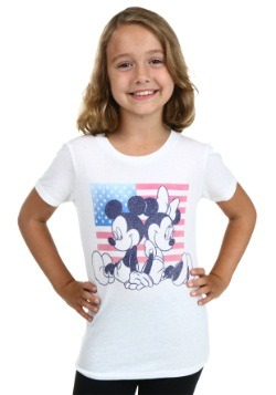 Mickey & Minnie Flag Tween Girls T-Shirt