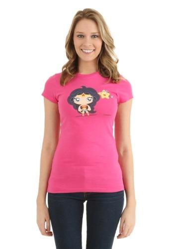 Cute Wonder Woman and Star Juniors T-Shirt