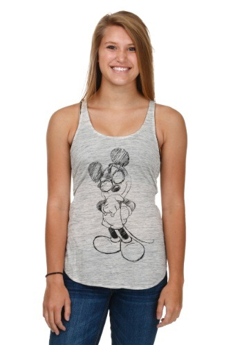 Mickey Sketch Juniors High Low Racer Tank