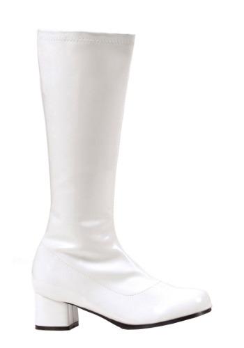 Girls White Go Go Disco Costume Boots