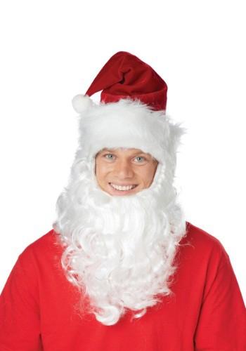 Santa Hat w/Attached Beard