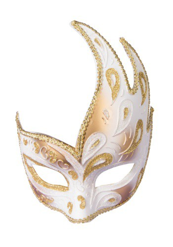 Adult Masquerade Gold Half Mask w/Ribbon