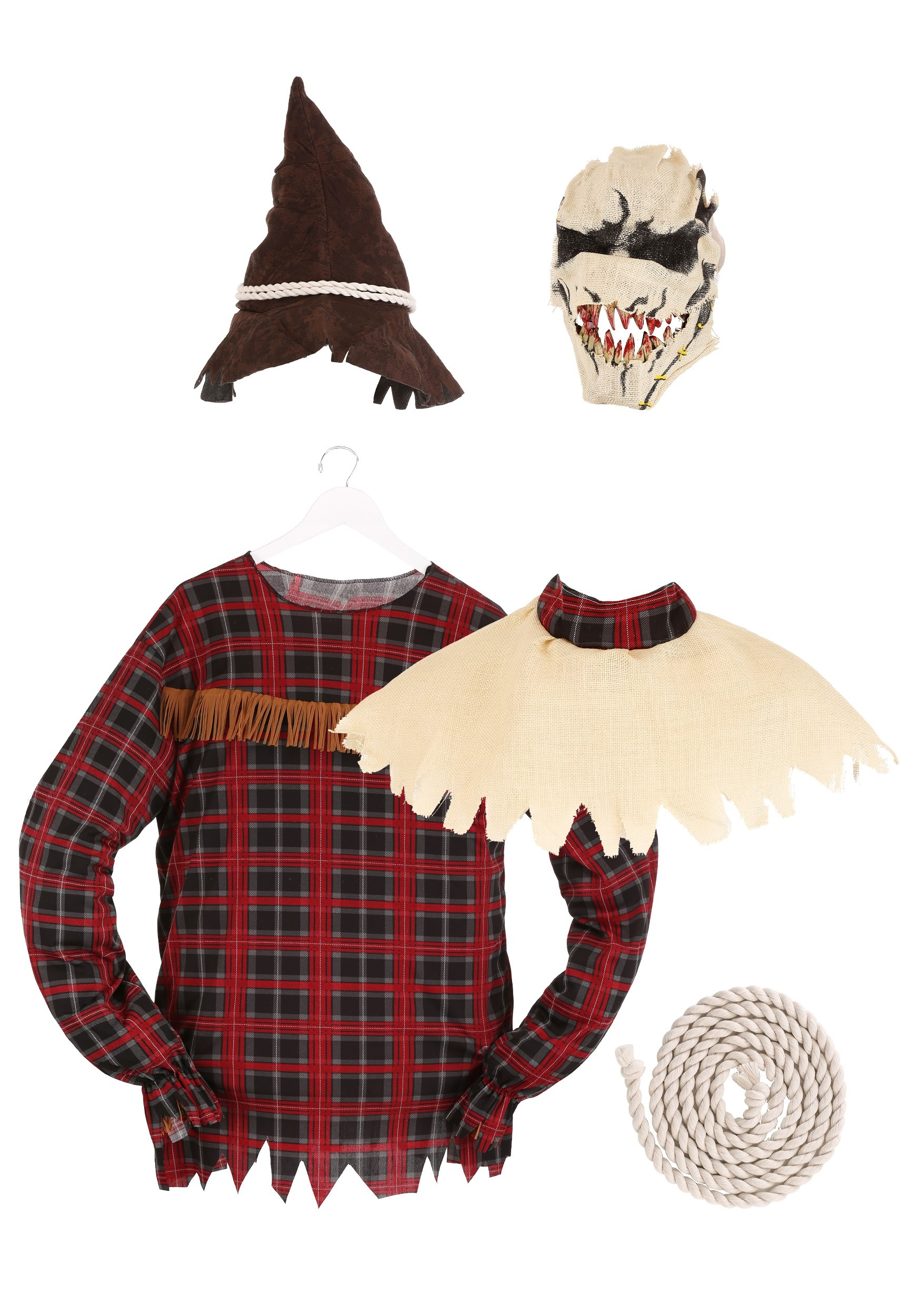 Beige//Plaid One Size Men/'s Deluxe Scarecrow Costume