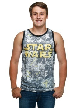 Men's Star Wars Comic Ringer White Tank Top