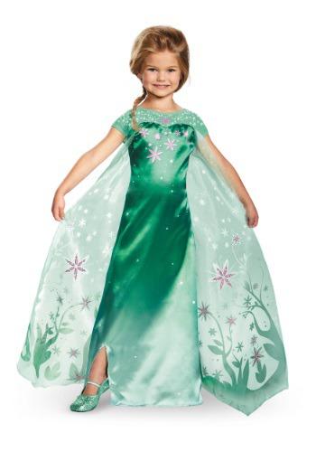 Deluxe Frozen Fever Elsa Costume For Girls