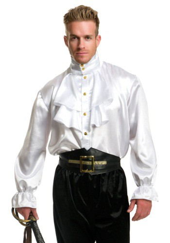 White Satin Ruffle Shirt For Men