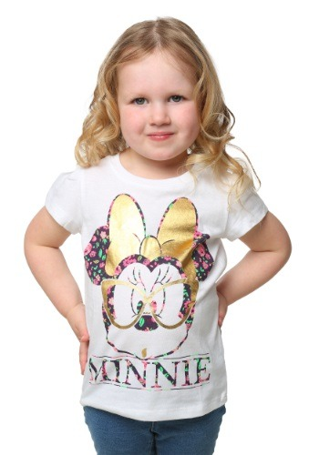 Minnie Gold Foil Glasses Toddler Girls T-Shirt