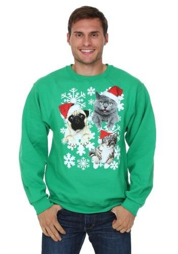 Santa Kitties & Pug Ugly Christmas Sweater