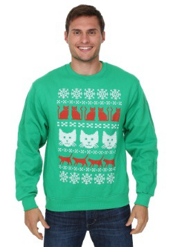 Ugly Christmas Sweater Kitty Pattern Mens Sweater