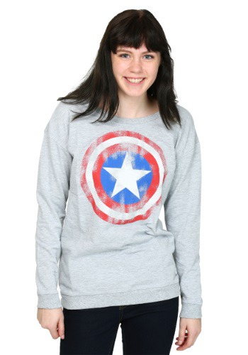Captain America Caps Shield Worn Juniors French Tee
