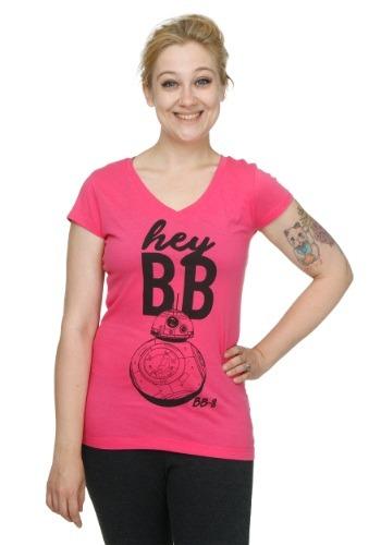 Juniors Star Wars Hey BB V Neck T-Shirt