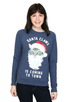 Santa Claws Cat French Terry Pullover Juniors