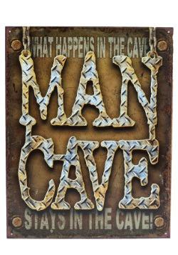 Man Cave Diamond Plate Tin Sign