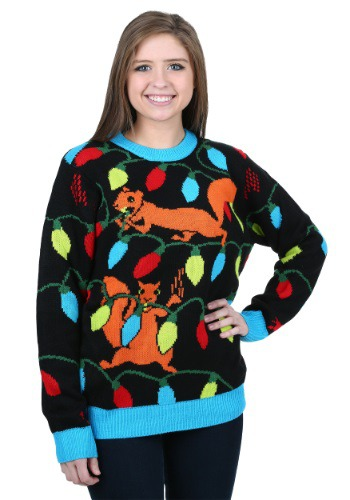 Squirrely Christmas Lights Ugly Christmas Sweater