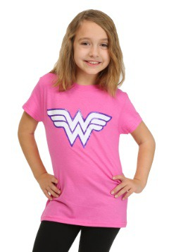 Wonder Woman Girls Pink Glitter Logo T-Shirt
