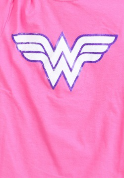 Wonder Woman Girls Pink Glitter Logo T-Shirt2
