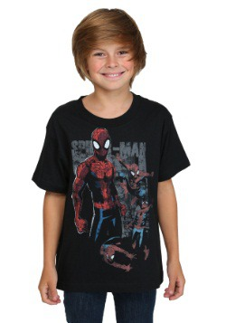 Spider-Man Multi Webs Youth Black T-Shirt