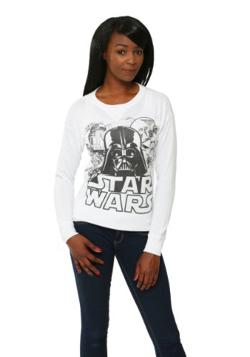 Star Wars Black & White Cast Juniors Pullover Sweater