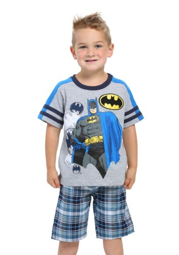 Batman Boys Jersey Tee with Woven Plaid Shorts