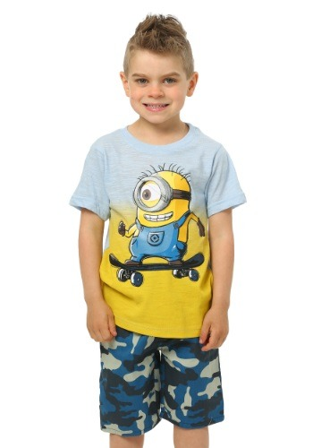 Minions Skateboard Boys Tee with Camo Shorts