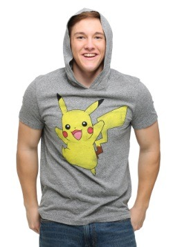 Pokemon Pikachu Mens Shortsleeve Hooded Pullover T-Shirt
