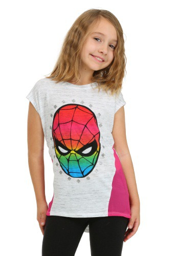 Spider-Man Rainbow Face Girls T-Shirt