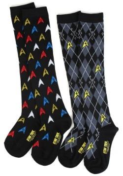 Star Trek Pattern Over the Knee Socks 2 Pack