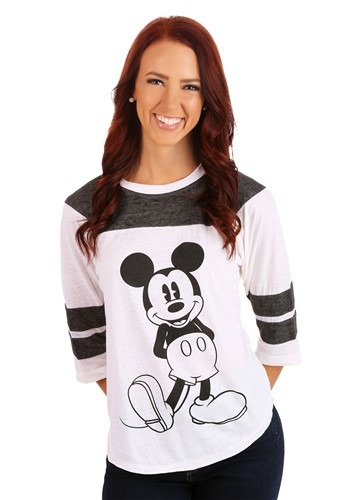 Mickey Mouse 3/4 Sleeve Varsity Burnout Juniors Shirt