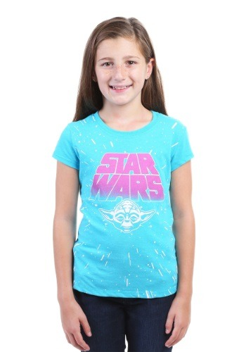 Star Wars Yoda Paint Splatter Girls T-Shirt