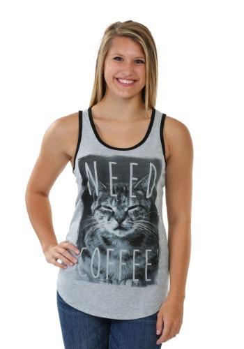 Kitty Needs Coffee Juniors Ringer Racerback Tank