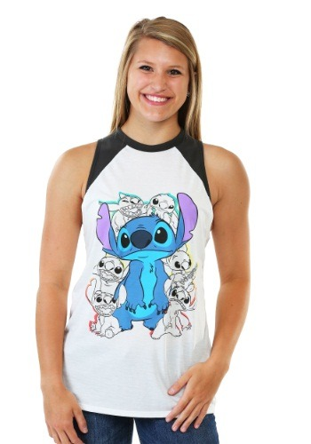 Lilo And Stitch Retro Stitch Juniors Muscle Raglan Tank