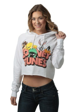 Looney Tunes Juniors Cropped Pullover Hooded Sweatshirt